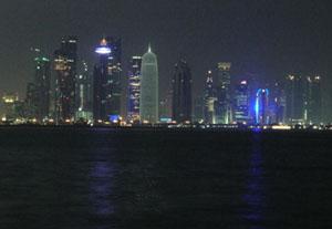 Dohas night skyline Qatar